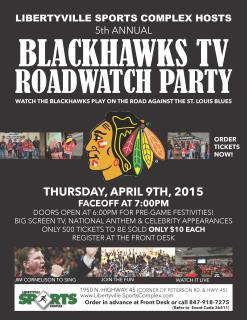 Blackhawks Roadwatch Party at Libertyville Sports Complex 2015 Poster.jpg